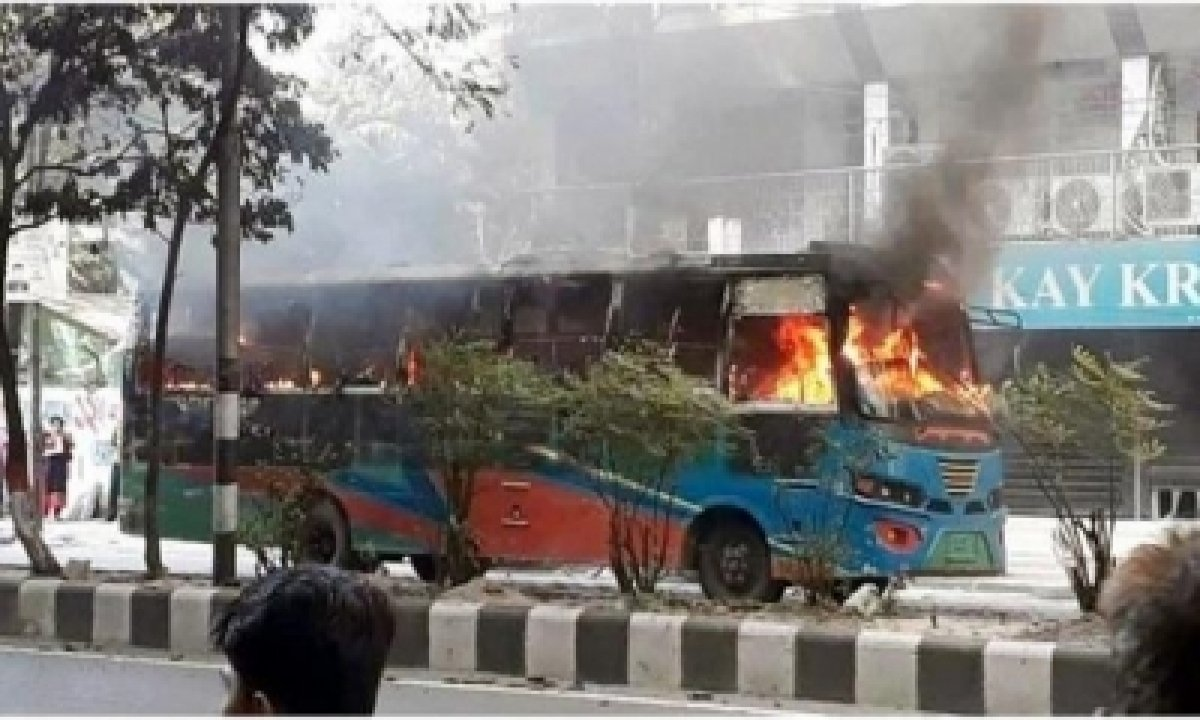 TeluguStop.com - Bnp Workers Set 7 Public Buses On Fire In Dhaka