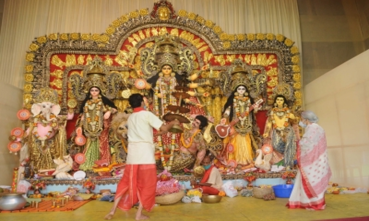 TeluguStop.com - Durga Puja Celebrations In Full-swing Amid Strict Covid Guidelines