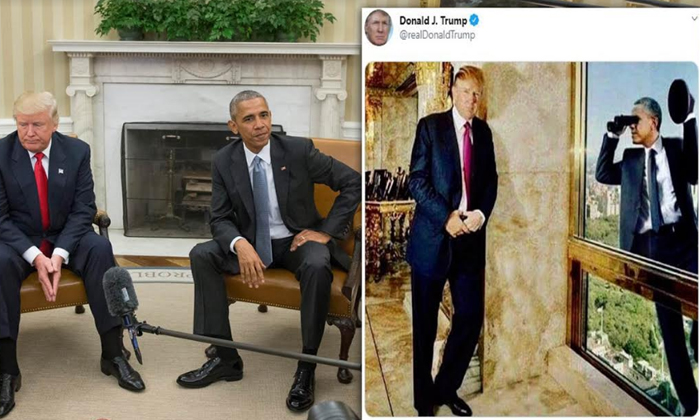 Telugu America President Donald Trump, Barak Obama, Barak Obama And Donald Trump, Trump, Trump Post A Photo In Social Media, Trump Posted Satirical Image Of Obama Spying On Him-General-Telugu
