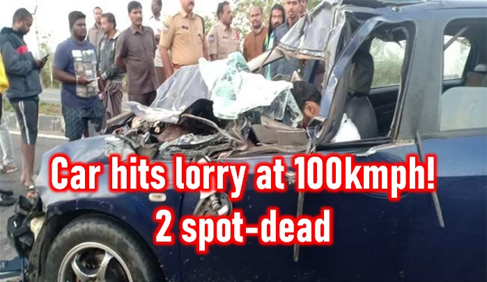 TeluguStop.com - Car Hits Lorry At 100kmph! Two Dead In The Accident At Karimnagar