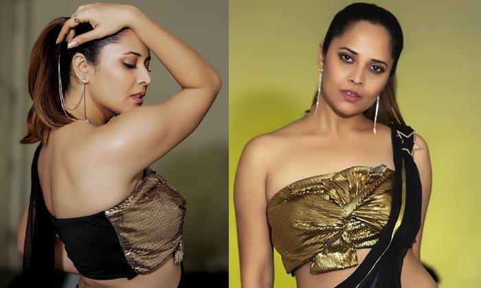 Anasuya Looks Stunning In Black Saree - Telugu Tollywood Movie Cinema Film Latest News Anasuya Looks Stunning In Black Saree -