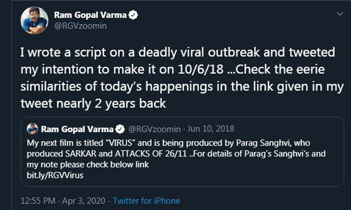 Telugu Coronavirus, Deadly Viral Outbreak, Ram Gopal Varma, Rgv, Tweets-Movie-English