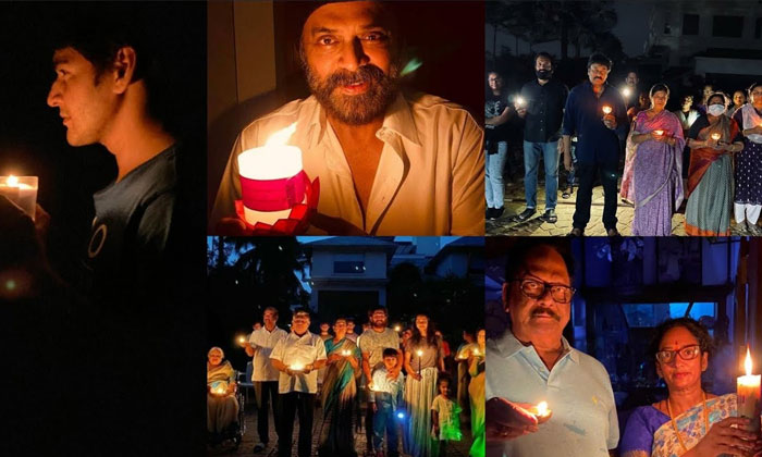 Tollywood Celebrities Light Lamps In Fight Against Corona Virus