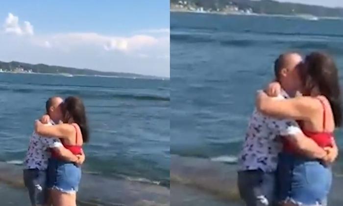 Telugu Love Proposal, Man Proposing Video, Man Slips On A Rock, Man Slips While Proposing To Girl, Video Viral-