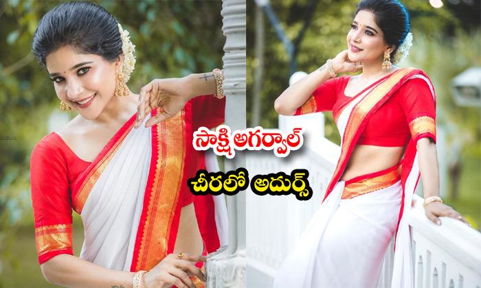Actress sakshi agarwal trendy clicks-సాక్షి అగర్వాల్ చీరలో అదుర్స్