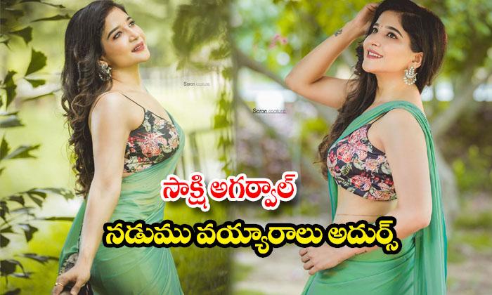 Sakshi Agarwal beautiful green saree images-సాక్షి అగర్వాల్ నడుమువయ్యారాలు అదుర్స్