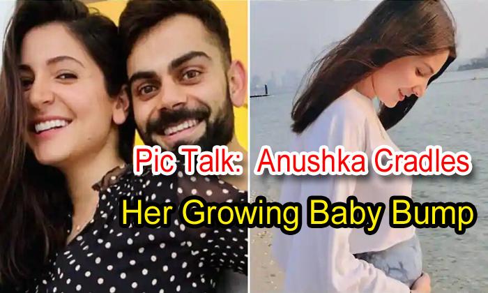 TeluguStop.com - Pic Talk: Anushka Cradles Her Growing Baby Bump