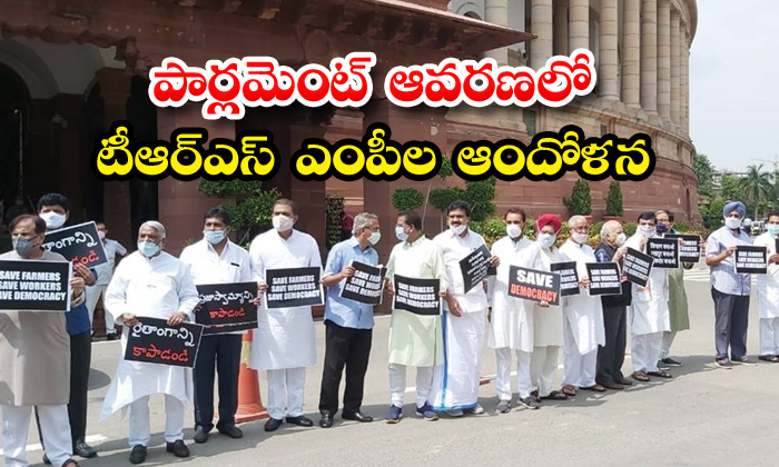 TeluguStop.com - Trs Mps Protests Farm Bills In Parliament