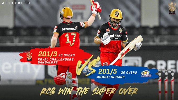 TeluguStop.com - Mi Vs Rcb, Ipl 2020: Rcb Grabs A Thrilling Super-over Win From Mi