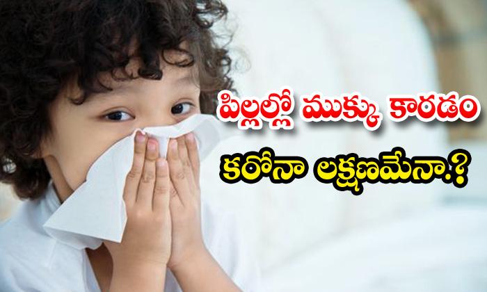 TeluguStop.com - Runny Nose Children Corona Symptom