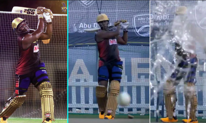 TeluguStop.com - Andre Russell Power Hitting Breaks Camera Glass In Practice Session