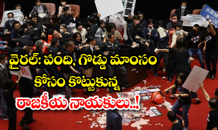 TeluguStop.com - Lawmakers Throw Pig Guts Punches On Taiwan Parliament On Yesterday