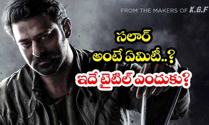 TeluguStop.com - Meaning Of Prabhas Prashant Neel Salaar Movie Title