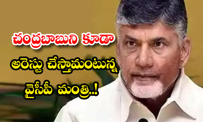 TeluguStop.com - Ycp Minister To Arrest Chandrababu Too